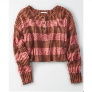 American Eagle Striped Cropped Henley Sweater M